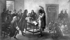 "The romantic version of the humiliation of Metacomet being forced to sign the treaty that disarmed his warriors. The result was native uprising called the KIng Philips War that nearly succeeded in pushing the colonist "" back into the sea."""